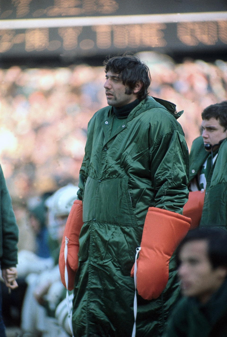 Joe Namath in Orange Gloves on Sideline vs Kansas City Chiefs