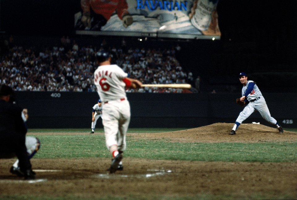 Sandy Koufax Pitching to Stan Musial