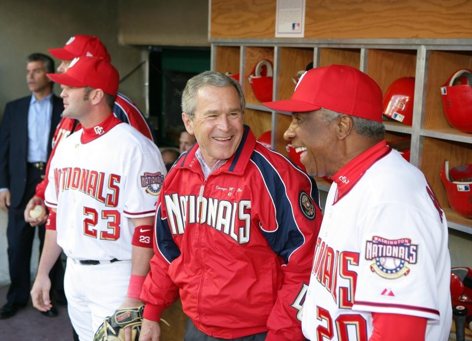 Pres. Bush at Baseball Opener with Manager Frank Robinson