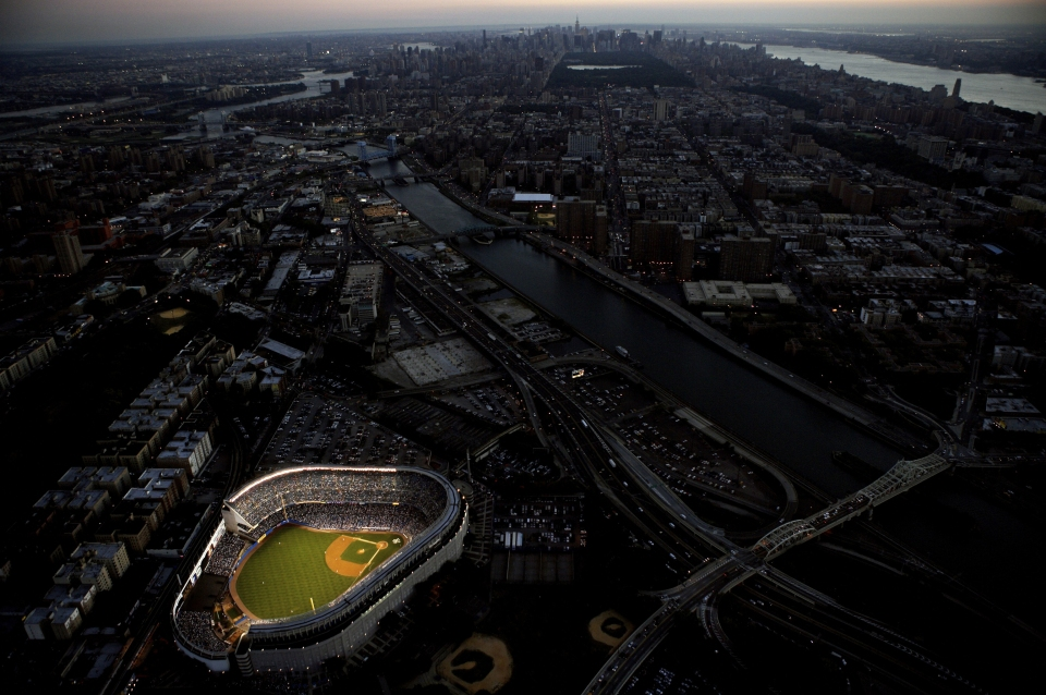 Yankee Stadium at Dusk from Fuji Blimp (Horizontal)