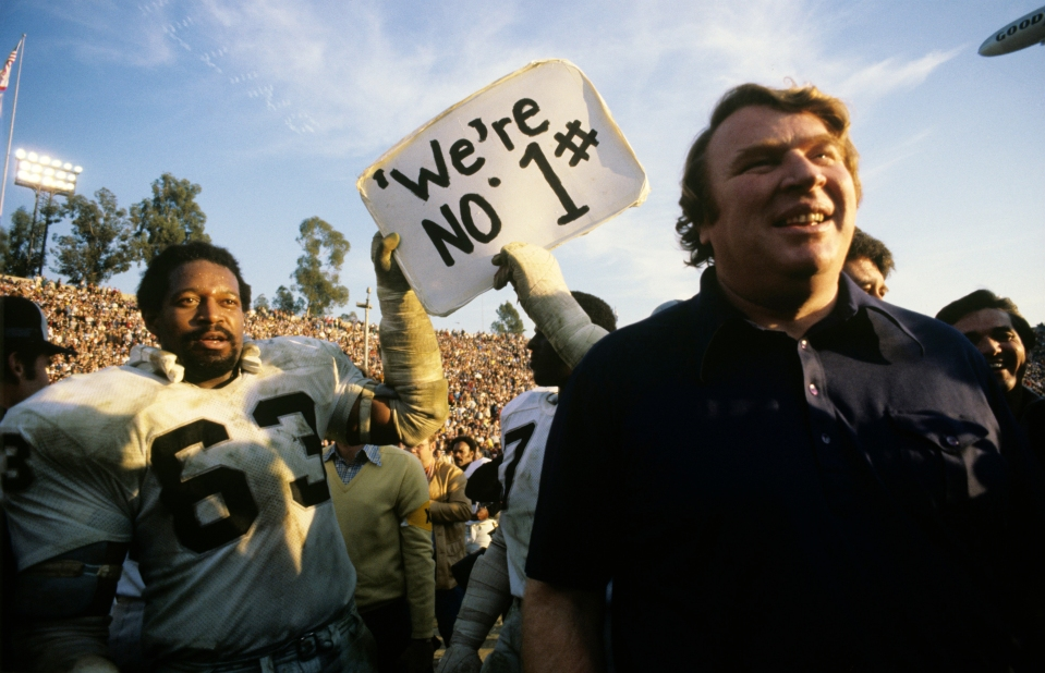 John Madden and Gene Upshaw at Super Bowl XI