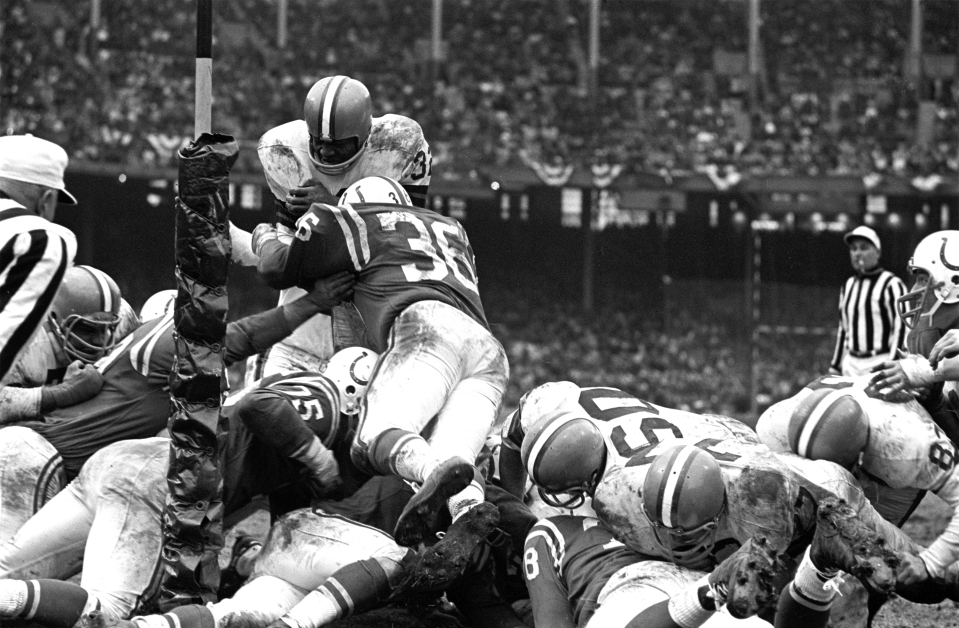 Jim Brown at Goal Line, On Top of Pile