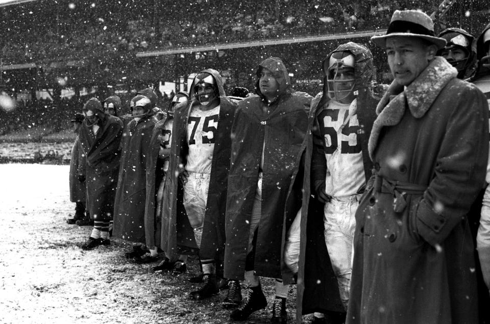 Eagles Sideline in Snow