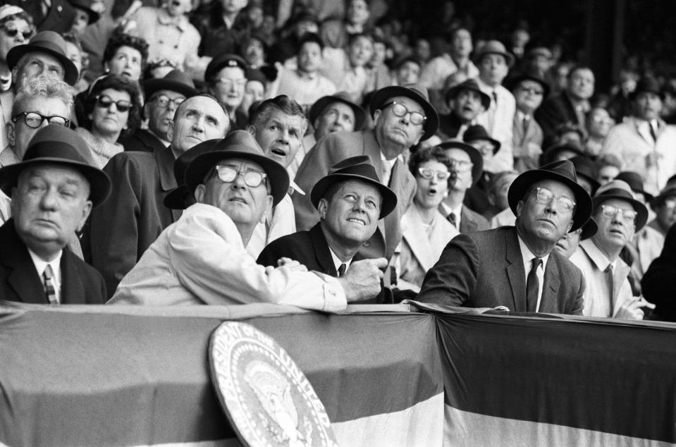 President JFK and Vice President LBJ at Baseball Opener